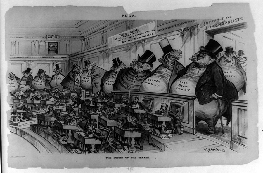 """the bosses of the senate """"the bosses of the senate"""" aj calvert this cartoon depicts corporate interests in the end of the 19th century further analysis of the cartoon shows that the """"people's entrance"""" is bolted shut (a metaphor for the middle to lower class, who feel that large businesses and monopolies have gained substantially more political power ."""